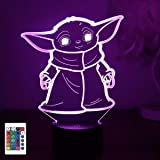 Baby Yoda 3D Night Light, 3D Led Illusion Lamp, 7 Color Change Decor Lamp Touch Table Desk Light with Remote Control…