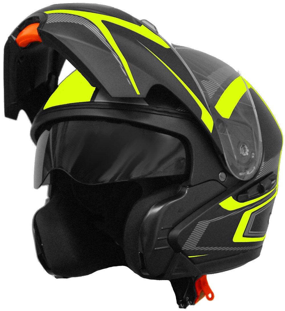 Gr/ö/ße M S, M, L, XL Klapphelm Integralhelm Helm Motorradhelm RALLOX 109 schwarz gelb neon gr/ün matt mit Sonnenblende