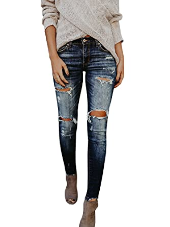 38d2379daa9 Lynwitkui Womens Destroyed Ripped Holes Skinny Jeans Leggings Low Stretchy  Straight Leg Slim Fit Denim Pants at Amazon Women's Jeans store