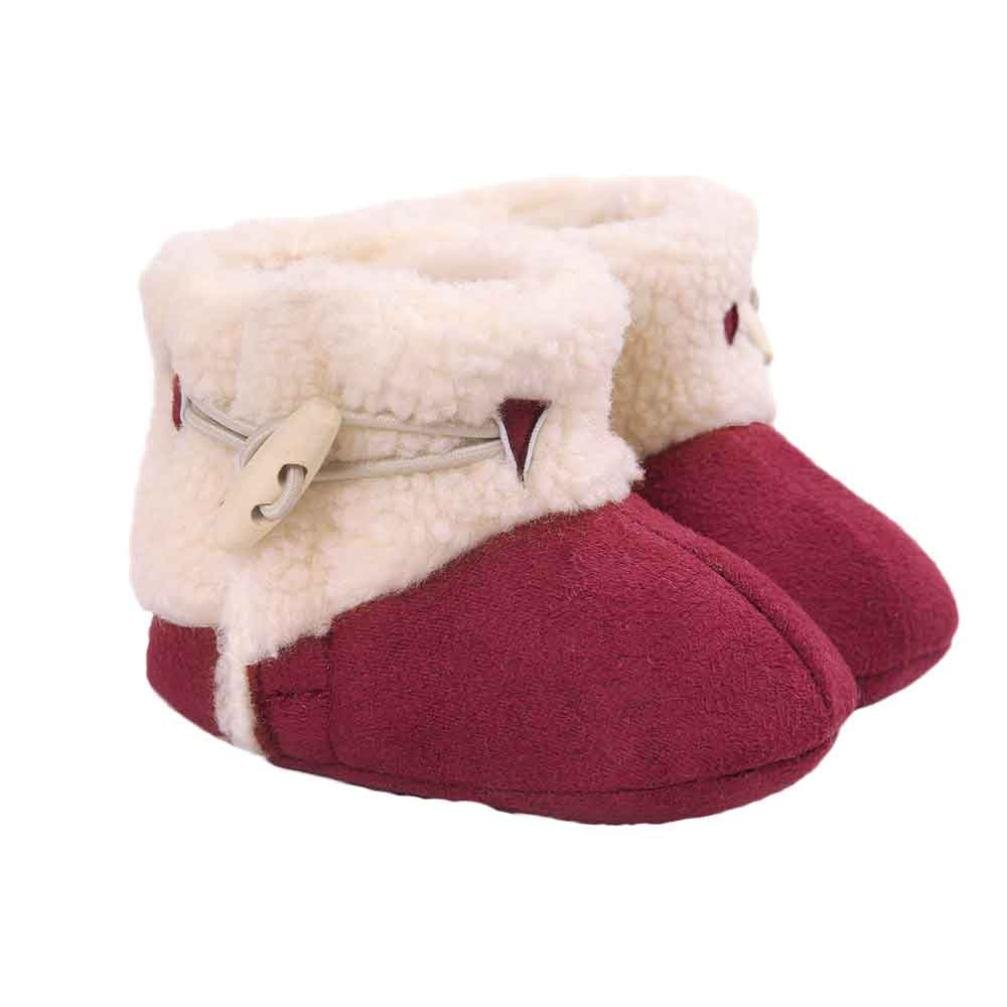 Tenworld Infant Baby Girls Snow Boots Winter Warm Cozie Fleece Bootie