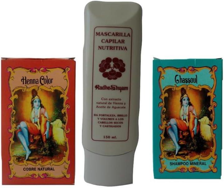Henna natural cobre unidades: polvo de tinta + mineral Champú ...