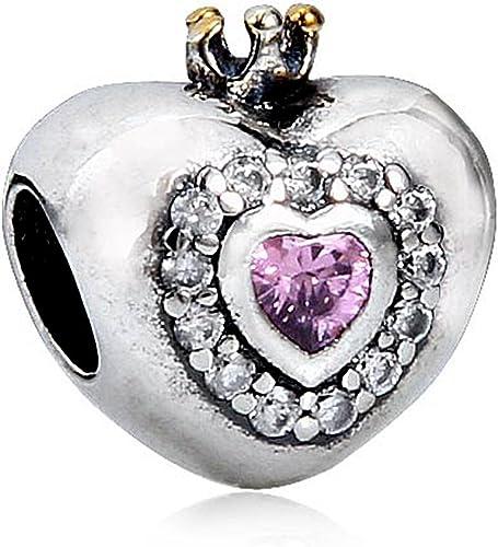 Princess heart charm sterling silver 925 fits charm European bracelets
