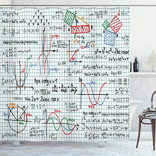 """Ambesonne Mathematics Classroom Shower Curtain, Algebra Studies Lesson Notebook Page Sketches Formula Design Print, Cloth Fabric Bathroom Decor Set with Hooks, 75"""" Long, Blue Red"""