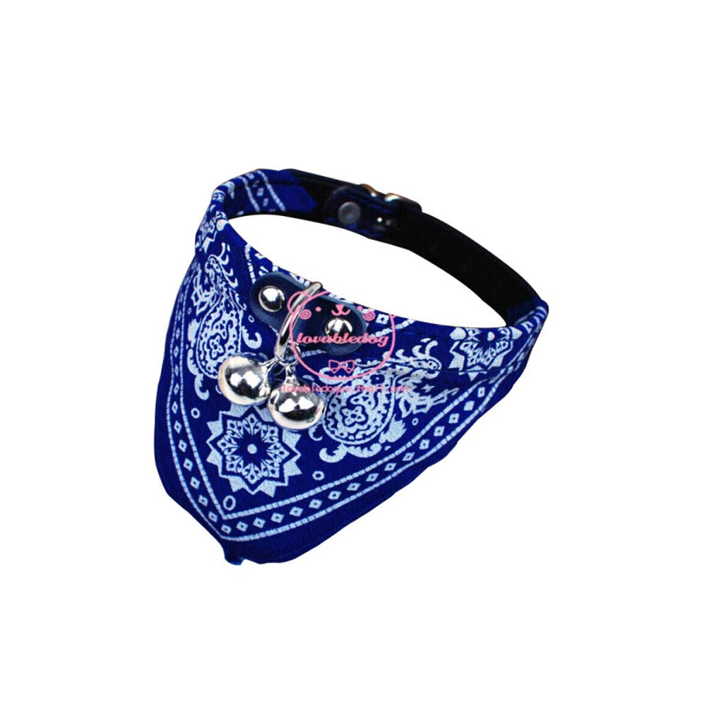 bluee 20-31 bluee 20-31 Dog Collar,Dog Scarf Triangle with Dog Bell, Dog Collar Scarf Cat Pet Dog Supplies Red (color   bluee, Size   20-31)