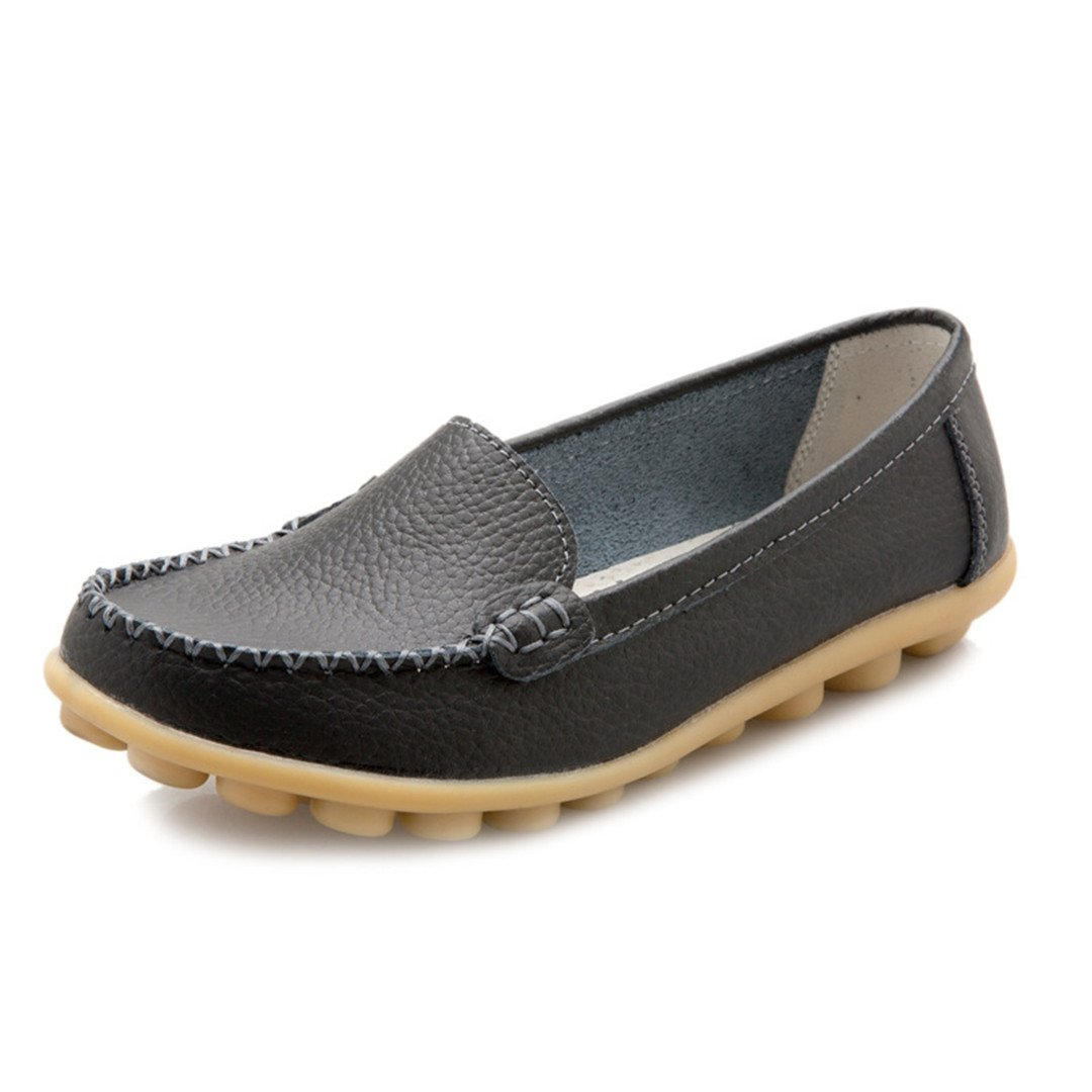 NSXZ Leather Flats Moccasins Driving Women Casual Shoes Leisure Concise
