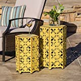 Christopher Knight Home Contemporary, Outdoor Parrish Antique Accent Table (Set of 2) (Yellow)