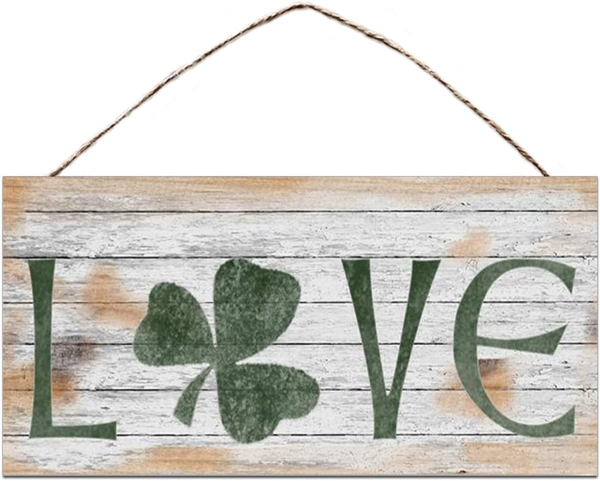 "BESTWD Love Sign, Shamrock Sign, Rustic and Distressed Style, Holiday Door Sign, 5"" x 10"" Sign, St. Patrick's Day Sign, Irish Decor"