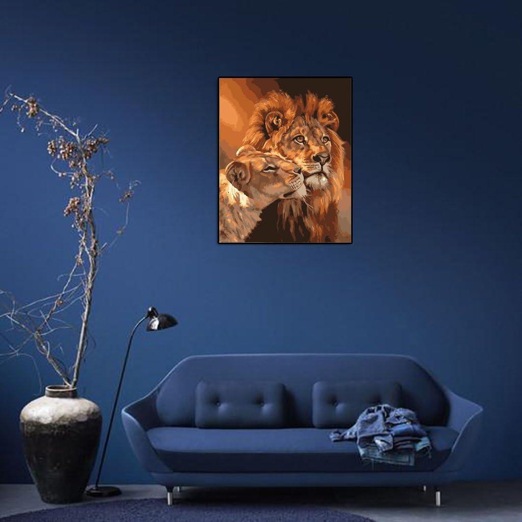 Xuniu Peinture /à lhuile par num/éros Motif Animal sur Toile D/écoration de Bureau Maison Cadeau
