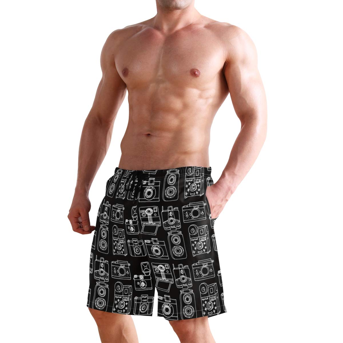 Mens Vintage Cameras Black Shorts Swimwear Running Shorts Beach Shorts for Men