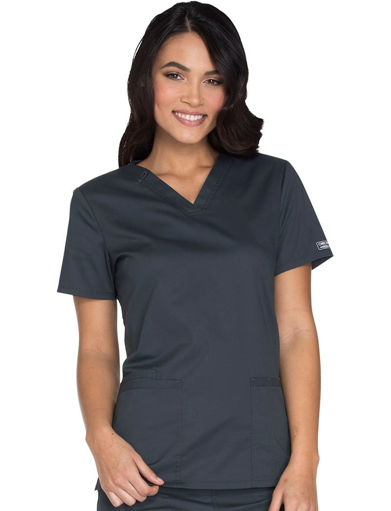 Cherokee Core Stretch Workwear Women's V-Neck Solid Scrub Top Medium Pewter