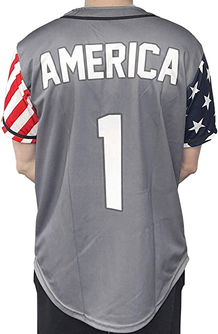 USA Custom Baseball Jersey Shirt Button Down Multi Colors Jerseys Top America #1 for Men with Free Bandana