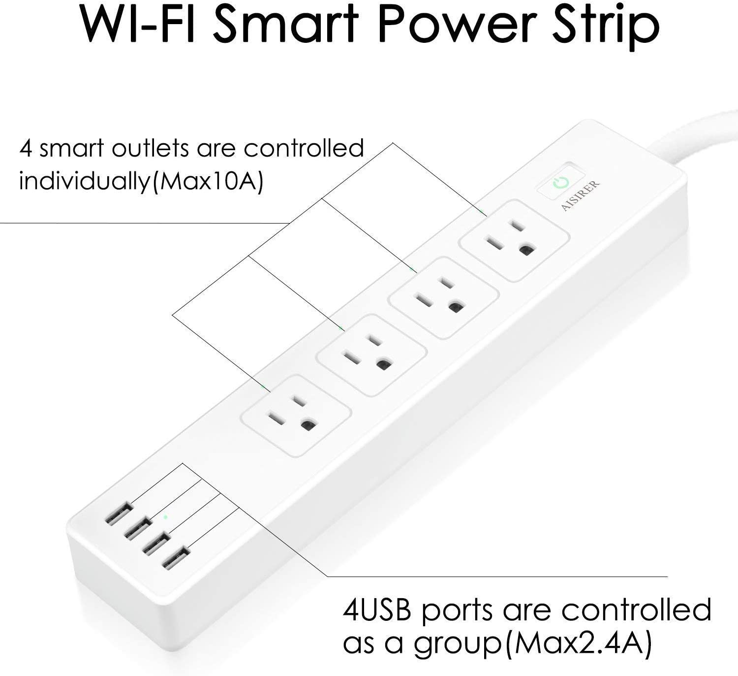 6ft Extension Cord Voice Controlled by Alexa Echo Dot and Google Home APP Remote Control WiFi Smart Power Strip Socket AISIRER Surge Protector Outlet 4 USB Charging Ports and 4 Smart AC Plugs