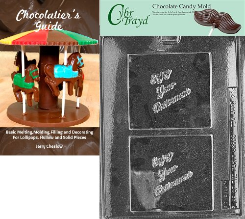 CybrtraydRetirement Greeting Cards Chocolate Candy Mold with Chocolatiers Guide