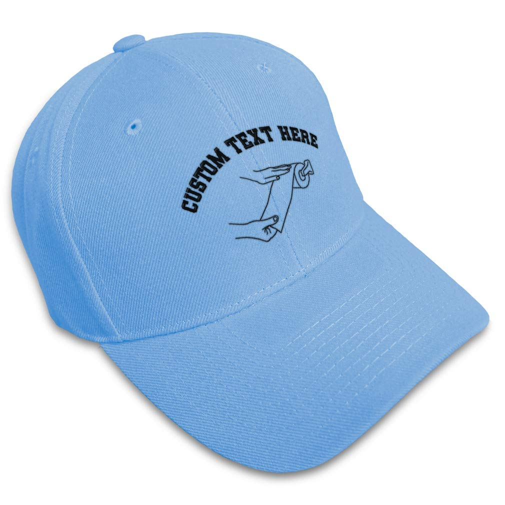 Custom Baseball Cap Taking Toilet Paper Outline Embroidery Acrylic Strap Closure
