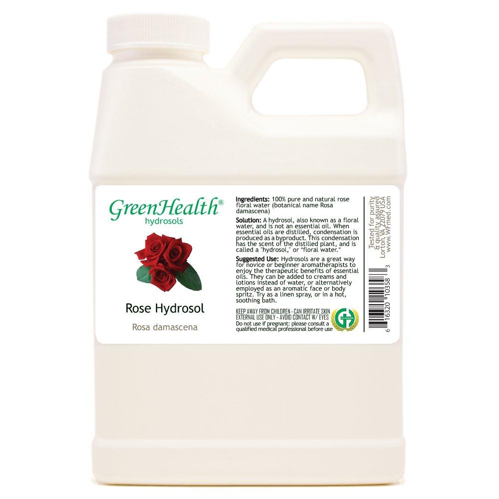 Rose Hydrosol - 16 fl oz Plastic Jug w/Cap - 100% pure, distilled from essential oil by GreenHealth