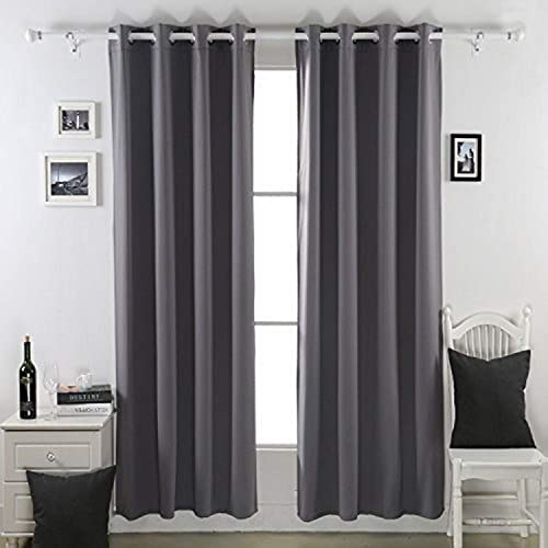 Deconovo Grommet Thermal Insulated Blackout Curtains, 52 x 95 , Dark Gray, 2 kg