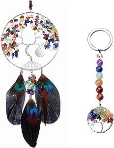 PESOENTH Bundle – 2 Items:7 Chakra Tree of Life Dream Catcher Crystals Hanging Wall Decoration + 7 Chakra Beads Tree of Life Crystal Gemstone Keychain Key Ring