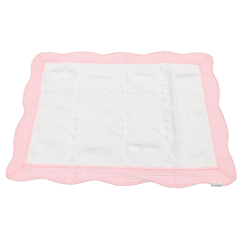 MONOBLANKS Cotton Baby Quilt Personlized Monogram Lightweight Embossed Scalloped Throw Blanket Four Seasons (White-Pink Trim)