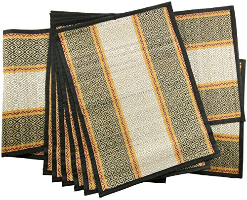 (SouvNear Set of 6 Striped Mats with Table Runner - Reversible Black and White - Natural Handmade Placemats and Table Runner Set )