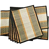 Best Selling Set of 6 Placemats & Table Runner - SALE on Striped Table Mats Set of 6 with Table Runner - Reversible Black and White - Natural Handmade Placemats