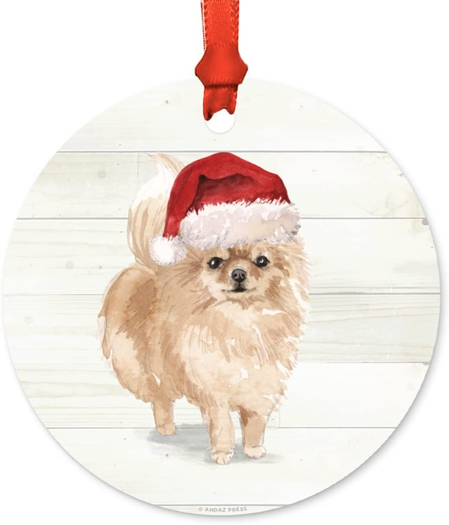 Andaz Press Animal Pet Dog Metal Christmas Ornament, Pomeranian with Santa Hat, 1-Pack, Includes Ribbon and Gift Bag