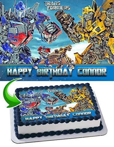 Transformers Optimus Prime Bumblebee Cake Topper Edible Image Personalized Birthday 1/4 Sheet Custom Sheet Party Birthday Sugar Frosting Transfer Fondant Image ~ Best Quality Edible Image for -