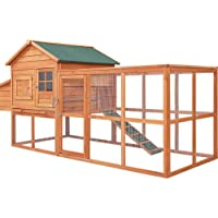 Chicken Hutch Coop Coops Wooden Rabbit Hutch Hen Chook House Ferret Large Run XL i.Pet