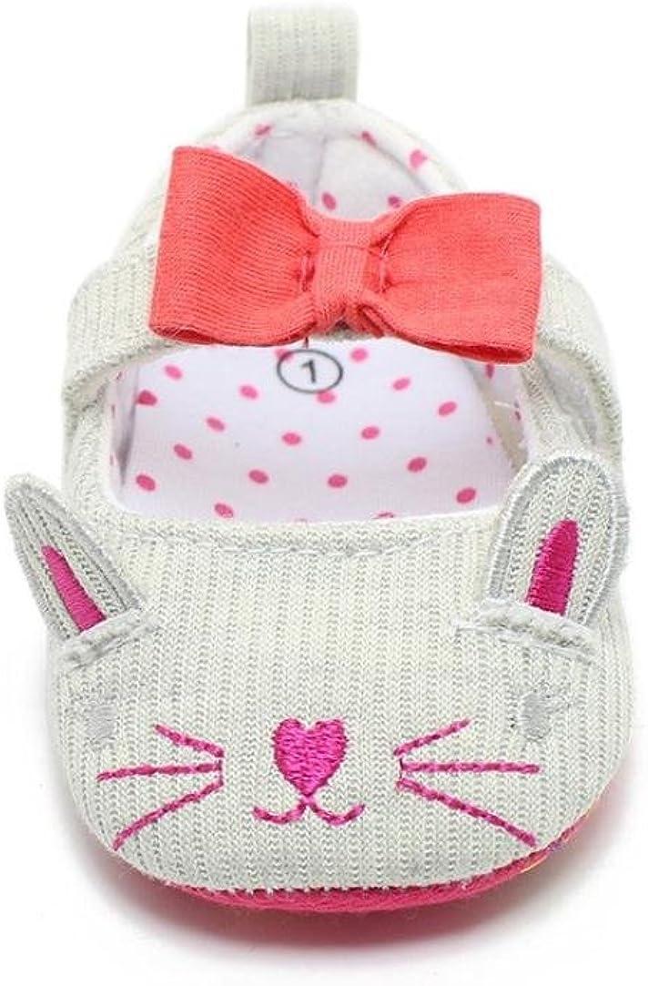 WARMSHOP Newborn Boys Girls Cut Cat Pattern Bowknot Soft Sole Baby Walking Shoe