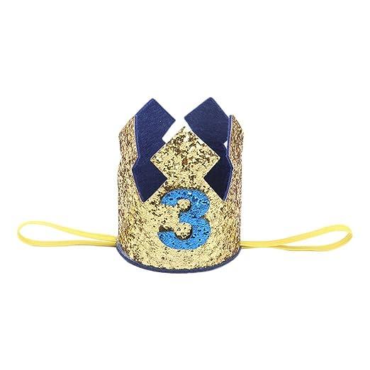 Westeng Diadema para Niños Cabello Kawaii Cintas del Pelo Diseño de la Corona Banda Elástico Pelo Accesorio Cumpleaños y Fiesta (Oro-3 años de Edad)