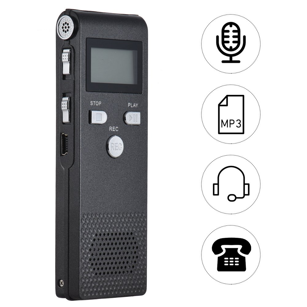 Aibecy Professional Voice Audio Telephone Recorder Dictaphone 8GB MP3 Music Player Sound Active 384Kbps Supports Multi-language for Business Meeting Concert Lectures