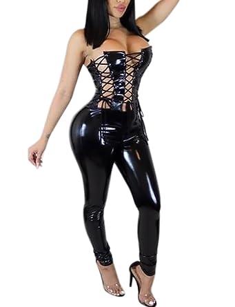 d24e56f5e96 Amazon.com  VWIWV Women Sexy Strapless Criss Cross Bandage PU Faux Leather  Bodysuit Jumpsuit Romper  Clothing