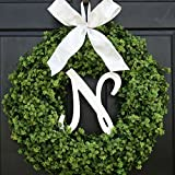 Large Personalized Summer Spring Boxwood Wreath with Monogram for Front Door Decor; Initial Letter and Bow Color Choice; Year Round Faux Greenery Decoration; Indoor/Outdoor; 22 Inch