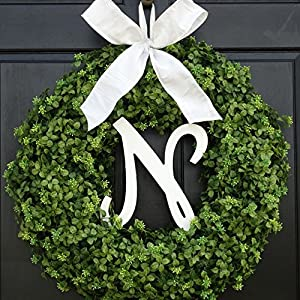 Large Personalized Summer Spring Boxwood Wreath with Monogram for Front Door Decor; Initial Letter and Bow Color Choice; Year Round Faux Greenery Decoration; Indoor/Outdoor; 22 Inch 79