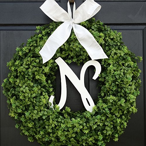 Large Personalized Summer Spring Boxwood Wreath with Monogram for Front Door Decor; Initial Letter and Bow Color Choice; Year Round Faux Greenery Decoration; Indoor/Outdoor; 22 Inch ()