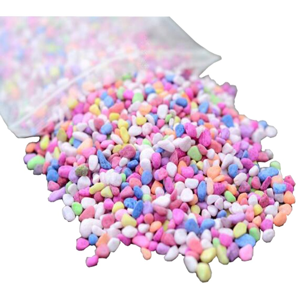 AmgateEu Aquarium Decorative Colorful Gravel Pebbles 1 Pound