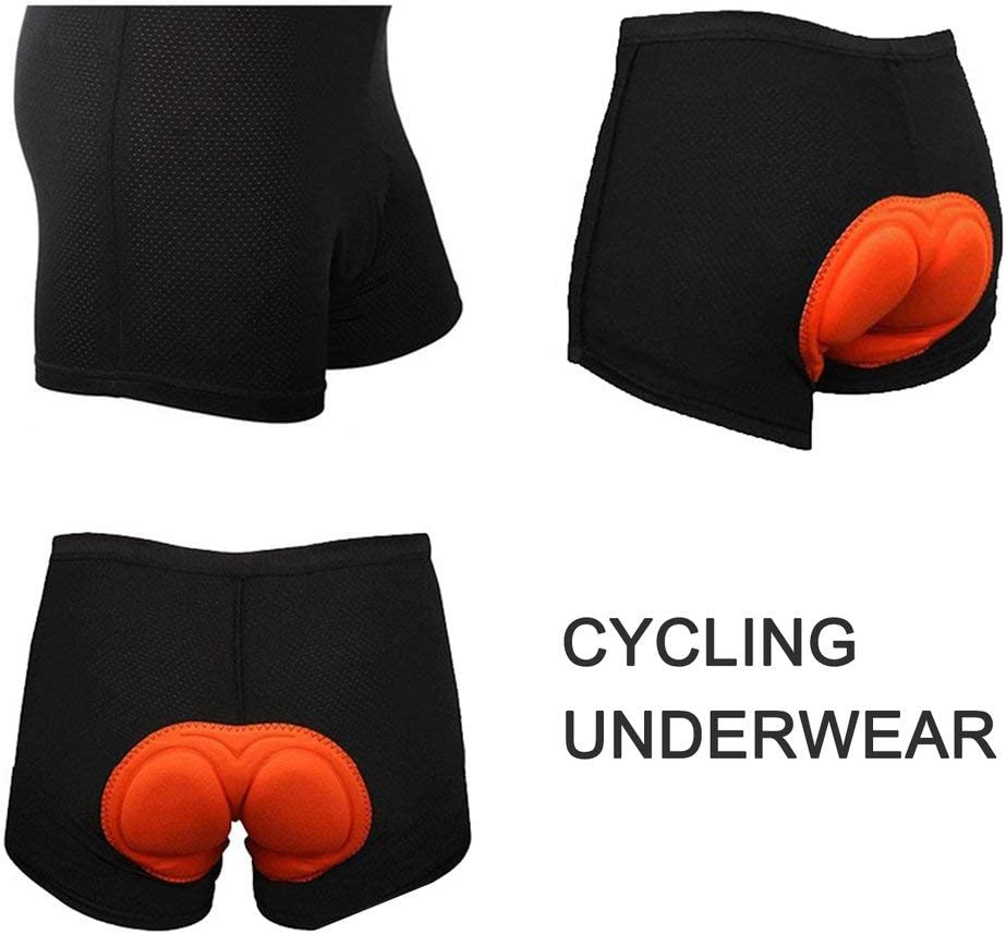 Sensiabl Extra Thickness Sponge Cushion Bicycle Underwear Cycling Men Shorts Bike Man Orange L