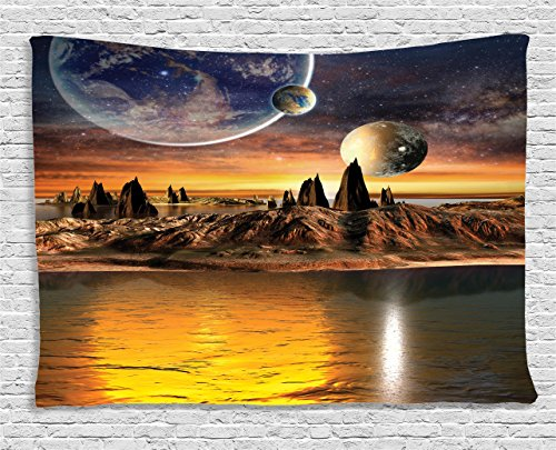 (Ambesonne Fantasy Tapestry, Alien Planet with Earth Moon and Mountain Fantasy Sci Fi Galactic Future Cosmos Art, Wall Hanging for Bedroom Living Room Dorm, 80 W X 60 L Inches, Marigold Brown )