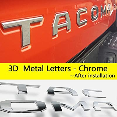 Emblem Fits for Toyota Tacoma 2016-2020 Tailgate Insert 3D Metal Letters (Not Decal Sticker) Toyota Tacoma Accessories, Chrome: Automotive