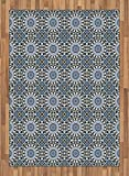 Arabian Area Rug by Ambesonne, Retro Style Arabesque Motifs Mosaic Ceramic Mosque Traditional Culture Print, Flat Woven Accent Rug for Living Room Bedroom Dining Room, 5.2 x 7.5 FT, Grey White Blue
