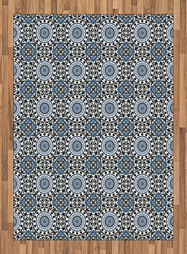 Arabian Area Rug by Ambesonne, Retro Style Arabesque Motifs Mosaic Ceramic Mosque Traditional Culture Print, Flat Woven Accent Rug for Living Room Bedroom Dining Room, 5.2 x 7.5 FT, Grey White Blue by Ambesonne