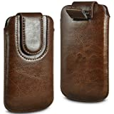 N4U Online® Binatone M250 Big Button Premium PU Leather Pull Flip Tab Case Cover Pouch With Magnetic Strap Closure - Brown