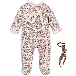 Little Me Pink Ruffle Heart Animal Print Footie and Tether Newborn