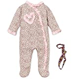 Little Me Girls Footed Cotton Pajamas One-Piece Romper and Tether Pink 9 Months