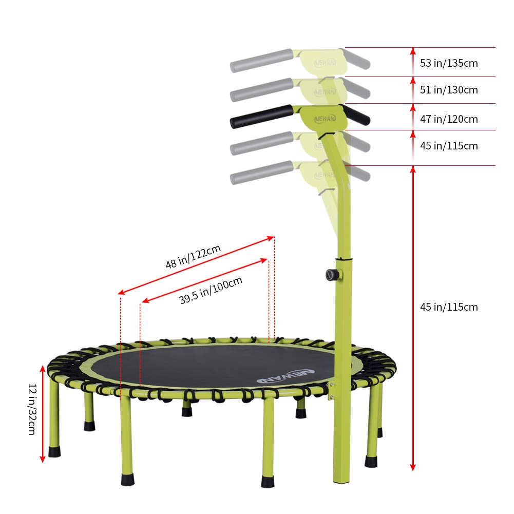 Max Limit 330 lbs Newan 40 Silent Mini Trampoline Fitness Trampoline Bungee Rebounder Jumping Cardio Trainer Workout for Adults or Kids