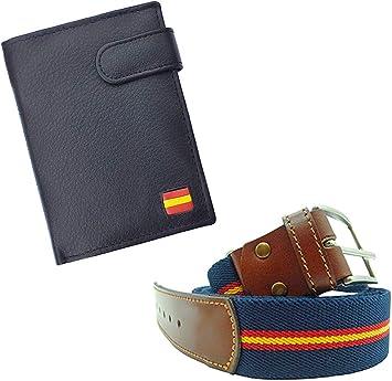 Tiendas LGP - Cartera Billetero Monedero, Bandera de España, Caballero -Piel Autentica, Color Negro + Cinturón Lona y Cuero Extensible Azul: Amazon.es: Equipaje