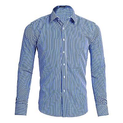 Pishon Men's Gingham Shirt Lightweight Slim Fit Button Up Long Sleeve Dress Shirts