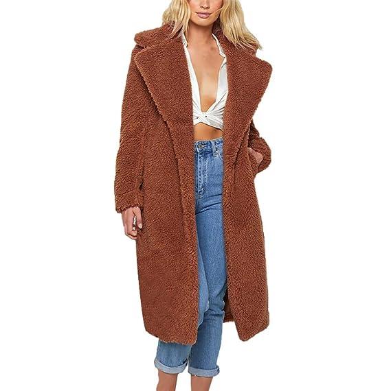 Vectry Mujer Calentar Faux Fur Coat Jacket Invierno Solid ...