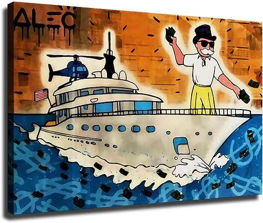 ALEC Monopoly Pintura Yate Lienzo Póster Arte de Pared Arte Impreso Moderno Dormitorio Familiar Póster Decoración, Enmarcado, 20x28inch: Amazon.es: Hogar