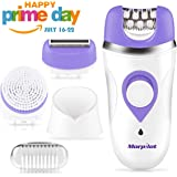 Pain-Free Electric Epilator, Morpilot 3 in 1 Rechargeable Hair Epilator for Women, Hair Remover Shaver, Facial Cleansing Brush - Wet Dry Use Lady Electric Bikini Razor with Manicure Set