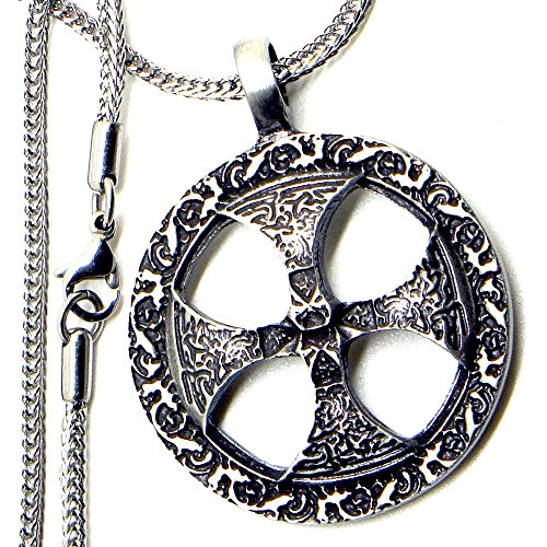 Stainless Steel Necklace w Viking warrior Solar Cross Sunweheel Pewter Pendant (Cross Viking)